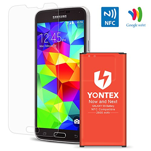 [NFC/Google Wallet Capable] S5 Battery , YONTEX 2800mAh Replacement Battery for Samsung Galaxy S5 [I9600,G900F,G900H, Verizon G900V, AT&T G900A, T-Mobile G900T, Sprint G900P] with Screen Protector