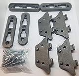 LARGE Cast Iron Bed Rail Fastener Set (kit) - 4 frame hooks Post anchors metal antique vintage