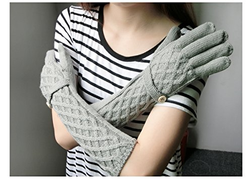 Cozy Design Women's Woolen and Cony Hair Knitted Long Gloves Grey by Cozy Design (Image #3)