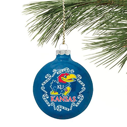NCAA Candy Cane Traditional Glass Ball Christmas Ornament- 2 5/8""