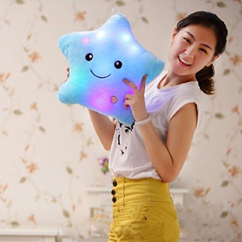 ZTD Star Shaped Glowing LED Pillow Changing Light Up Soft Cushion (Blue) by ZTD