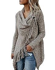 Tomsweet Women Cape Poncho Asymmetric Tassels Chic Cardigan Knit Coat Tops Jacket Fashion Elegant Casual Sweater Jumper