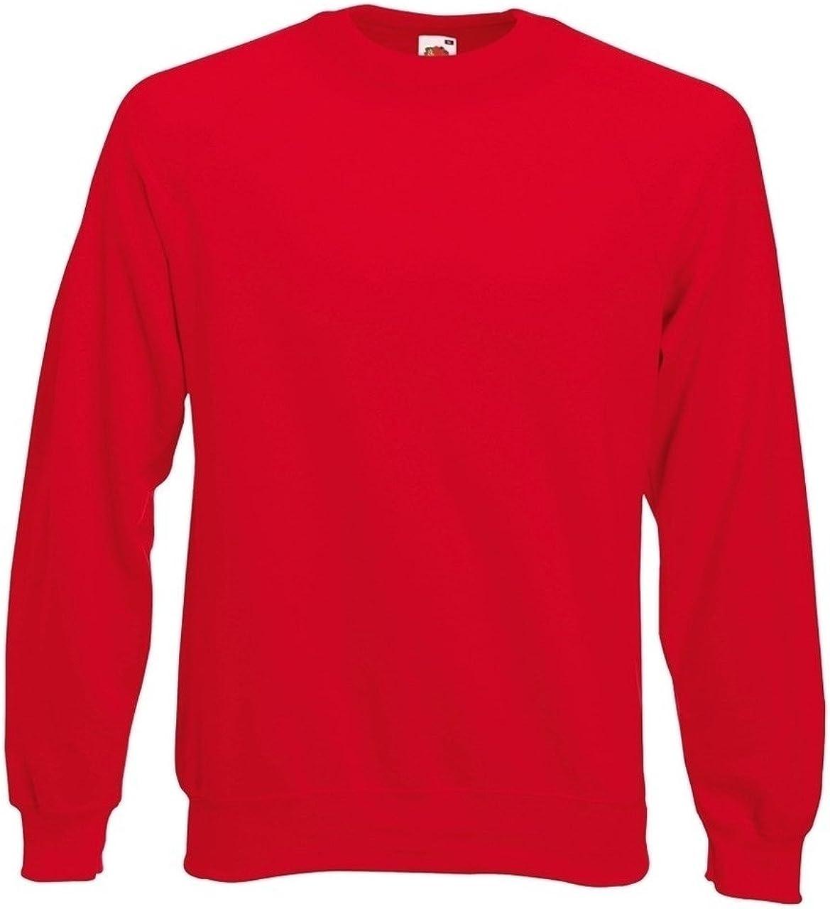 Black Royal Red Burgundy Grey Navy Blue Fruit-Of-The-Loom Mens//Ladies Screen Star Plain Crew Neck Brushed Fleece Lined Classic Sweatshirt