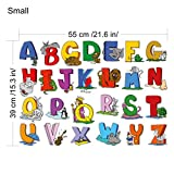 Educational Wall Sticker Animal Alphabet Art Letters - Set of 26 ABC Letter Decals to Decorate The Walls in Nursery or Kids Rooms - Attractive Funny Learning Tool for Creative Young Children (Small)