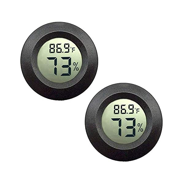 JEDEW 2-Pack Mini Hygrometer Thermometer Digital LCD Monitor Indoor Outdoor Humidity Meter Gauge for Humidifiers Dehumidifiers Greenhouse Basement Babyroom Fahrenheit or Celsius (Black-2 Pack) 1