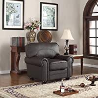 Divano Roma Furniture Traditional Collection - Brown REAL Leather Upholstered Armchair (Brown)