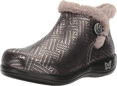 Faux Shearling Toggle Coat - Alegria Womens Meri Ankle Boot Shoes, Pewter Dazzler, 40 W EU (9.5-10 W US)