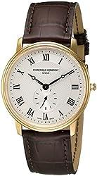 Frederique Constant Unisex FC-235M4S5 Slim Line Analog Display Quartz Brown Watch