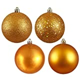 Vickerman Shatterproof Assorted Ball Ornaments Featuring Shiny, Matte, Sequin, and Glitter Finishes, 96 per Box, 1.6'', Antique Gold