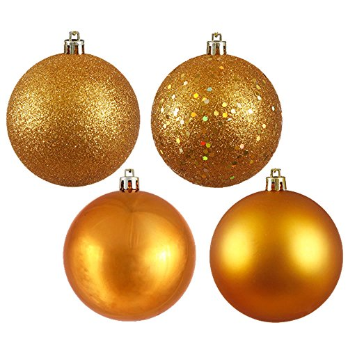 Vickerman 4ct Antique Gold Shatterproof 4-Finish Christmas Ball Ornaments 6
