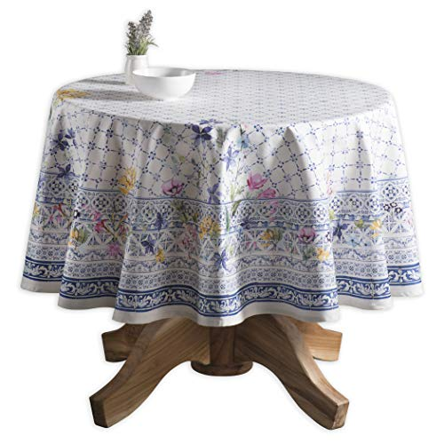 Maison d' Hermine Faïence 100% Cotton Tablecloth 63 Inch Round ()