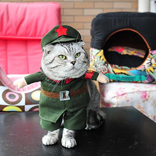 RUMOD Pet Christmas Red Army Uniform Hat Set Halloween Cosplay Funny Cat Costume -