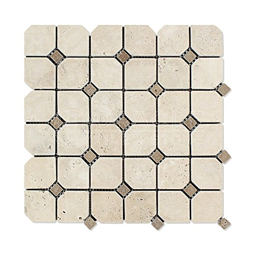 Ivory (Light) Travertine Octagon Mosaic Tile with Noce Travertine Dots, Tumbled