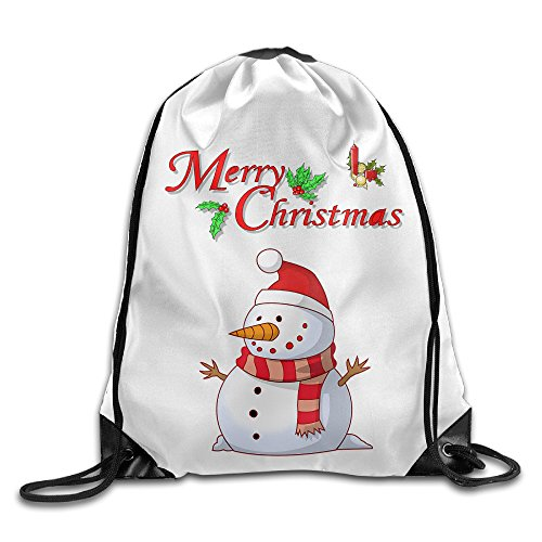 Zhanzy Merry Christmas Cute Snowman Large Drawstring Sport Backpack Sack Bag Sackpack ()
