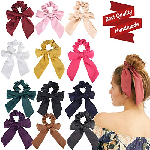 12Pcs Hair Scrunchies Bow Satin Silk Elastics Hair Bands Scrunchy Hair Rope Ties Ponytail Holder Accessories for Women Girls