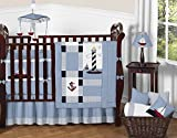 Sweet Jojo Designs 9-Piece Come Sail Away Nautical Sail Boat Blue and white Baby Boy Bedding Crib Set
