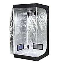 "iPower GLTENTS1 Mylar Hydroponic Grow Tent for Indoor Seedling Plant Growing with Metal Push-Lock Corners, 39x39x78"", Water-Resistant. Removable Mylar Floor Tray Included"