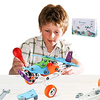 Bldaxn STEM Toys for Boys and Girls 5 Years Old and Up Fun and Creative Educational Building Kit 5 in 1 Toy Set of Air Plane - Racing Car - Motorcycle - Helicopter and Tractor 132 Pcs