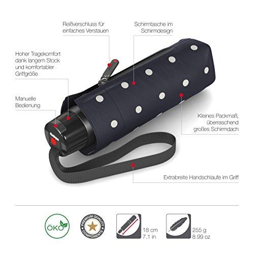 Knirps T.010 small Manual Taschenschirm / Regenschirm Kelly Dark Navy UV-Protection (Blau / Weiss) qTRGlDIkC