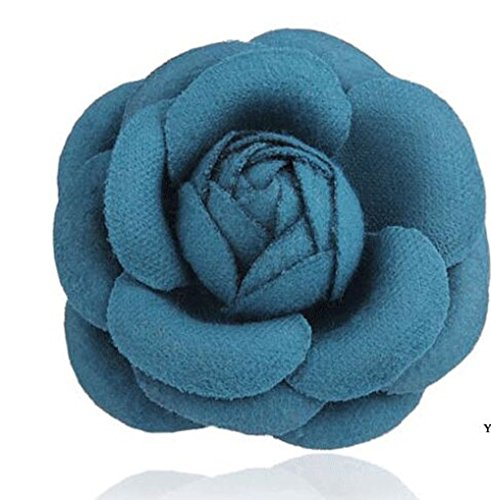 Best Celebrity Costumes 2016 (MISASHA Celebrity Designer Fabric Tweed Camellia Turquoise Blue Flower Pin Brooch)