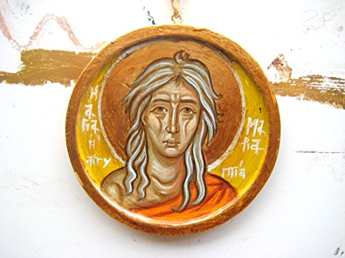 Made to order -St Mary of Egypt hand painted byzantine icon, round religious charm gift (Patina Gilded Gold Antique)