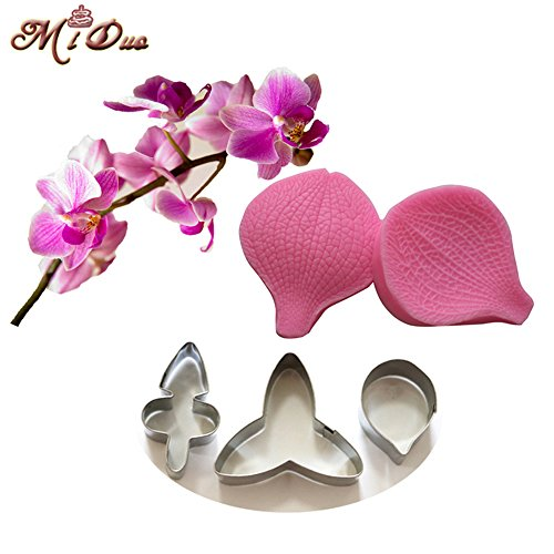 MDC Gumpaste Butterfly Orchid Petal Silicone Veiner & Cutter Fondant Cake Mould from Miduo Claire