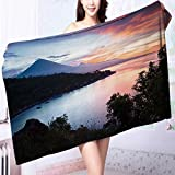 Soft bath towel Calm lagoon with mountains on the background at sunset Bali,Indonesia Easy care machine wash L55.1 x W27.5 INCH