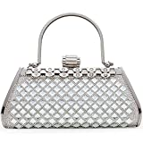 Women Clutch Bag Rhinstone and Shining Paillette Decorative Sparkling Vintage Classic Evening Shoulder Bag Girls Ladies Silver Elegant Compact Handbag Purse For Weddings Parties Ceremony (Silver)