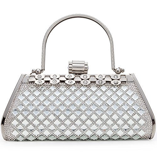 Women Clutch Bag Rhinstone and Shining Paillette Decorative Sparkling Vintage Classic Evening Shoulder Bag Girls Ladies Silver Elegant Compact Handbag Purse For Weddings Parties Ceremony (Silver) by LONGBLE