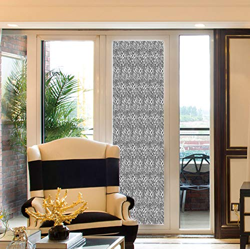 (YOLIYANA Non Adhesive Window Film,Damask,for Window Moving Glass Door,Cute Daisy Blossoms Paisley Inspired Details Rich)