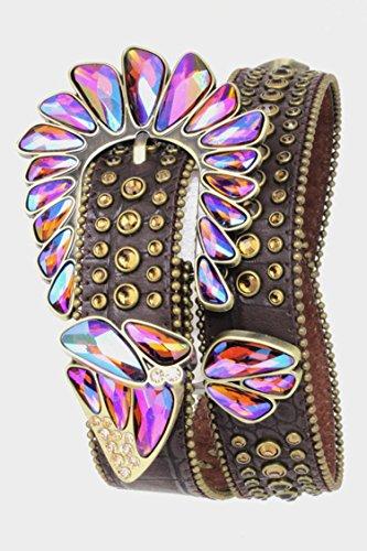 Trendy Fashion Jewelry Asymmetrical Crystal Belt By Fashion Destination | (Brown) by Fashion Destination