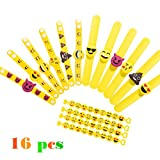 Emoji Rubber Wristband Bracelets Party Toys , Pack of 16 Mixed Emoticon Variety Party Bracelets Gifts, Kids Birthday Party Favors Supplies Bag Fillers for Events Accessories