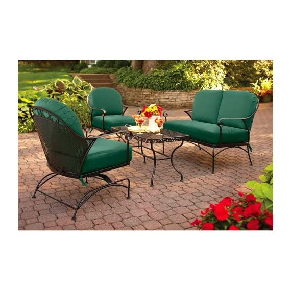 4-piece Outdoor Patio Conversation Set, Green, Furniture Seats 4 relax in out in your backyard in comfort all season long with this set. The steel frame has a durable, powder-coated, carefree finish, and the cushions keep their Green color thanks to a UV-resistant finish - Heavy duty steel frame Durable, powder-coated, carefree finish Holds 1 person up to 250 lb per chair - patio-furniture, patio, conversation-sets - 51GoM0sDgpL. SS570  -