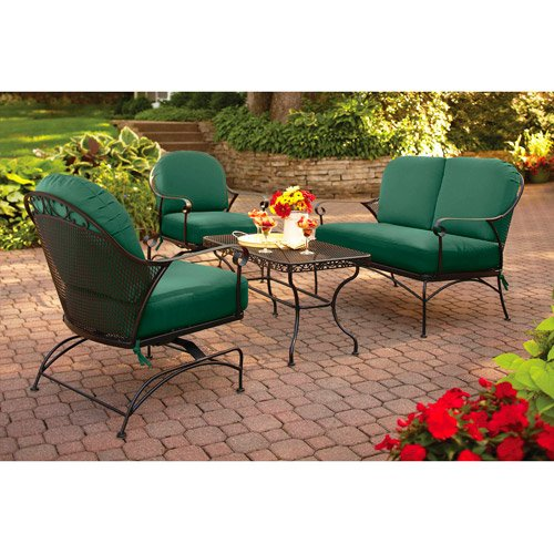 4-piece Outdoor Patio Conversation Set, Green, Furniture Seats 4 relax in out in your backyard in comfort all season long with this set. The steel frame has a durable, powder-coated, carefree finish, and the cushions keep their Green color thanks to a UV-resistant finish For Sale
