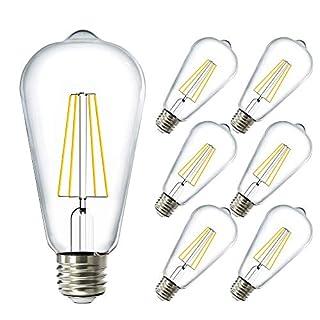 Sunco Lighting 6 Pack ST64 LED Bulb, Dimmable, 8.5W=60W, 3000K Warm White, Vintage Edison Filament Bulb, 800 LM, E26 Base, Restauarant or String Lights - UL, Energy Star