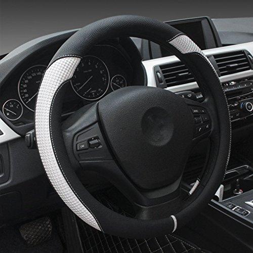 Coofig Leather Hand Sewing Fashion, Breathable, Skidproof Car Steering Wheel Cover Universal 15inch (White, fxpt1)
