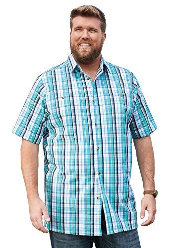 (KingSize Men's Big & Tall Short-Sleeve Plaid Sport Shirt, Tidal Green Plaid Big-3XL)