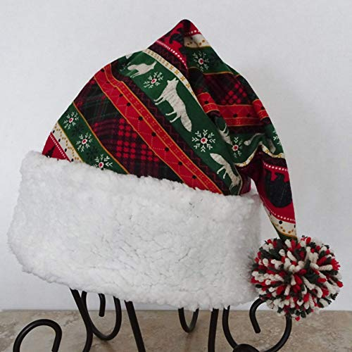 - Christmas Nordic Lodge Stripe Red and Green Santa Hat, Novelty Adult Santa Hat, Ranch or Lodge Christmas Hat