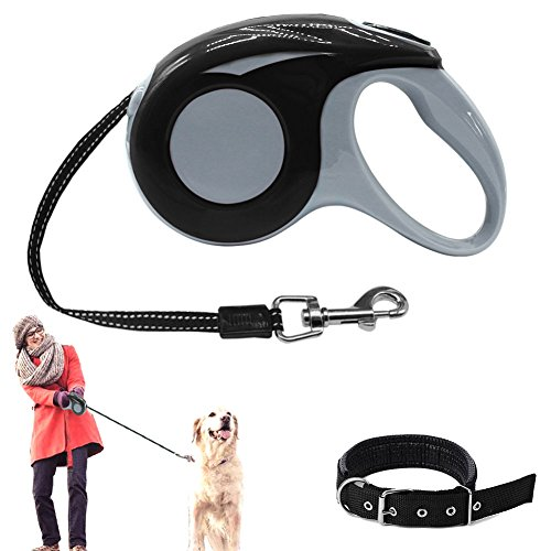 Retractable Dog Leash with Dog Collar ,Adjustable 16.4ft  Pet Leash Lead for Dogs To Training, Walking, Jogging