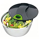 Moha 24 cm Diameter Tornado Salad Spinner with Stainless Steel Bowl, Black