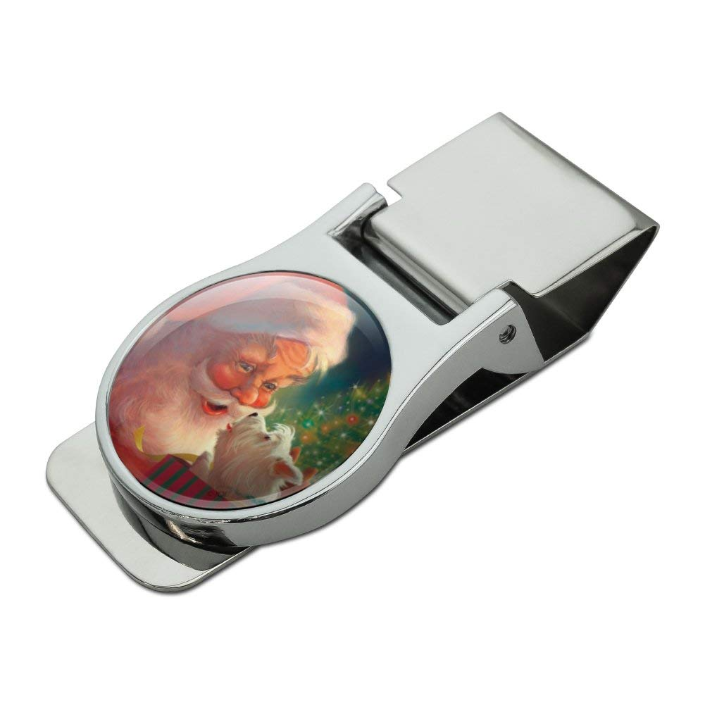 Christmas Holiday Santa Claus with Puppy Satin Chrome Plated Metal Money Clip