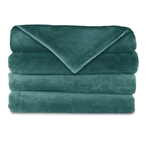 Sunbeam Heated Throw Blanket | Dual Pocket Microplush, 3 Heat Settings, Lagoon - Microplush Throw