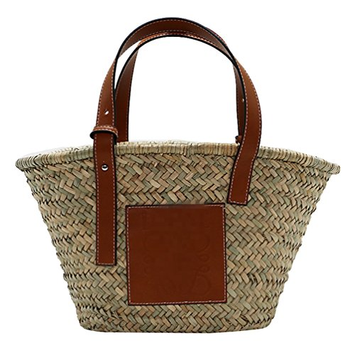 Dexinx Straw Beach Bag Summer Vacation Environmentally Friendly Woven Fabric Storage Bag For Purchases Such As Portable Imagen1 Women