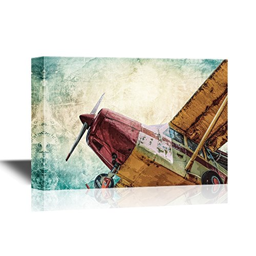 wall26 - Canvas Wall Art - Vintage Airplane Seen from Below - Gallery Wrap Modern Home Decor | Ready to Hang - 24x36 inches