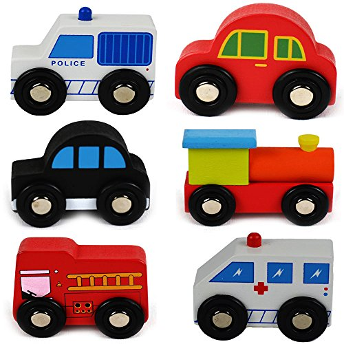 Wooden Toys Cars Bus Engine Emergency Vehicles Educational