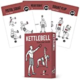 "EXERCISE CARDS KETTLEBELL Home Gym Workouts HIIT Strength Training Build Muscle Total Body Fitness Guide Training Routines Bodybuilding Personal Learn KB Moves 3.5""x5"" Cards Burn Fat"
