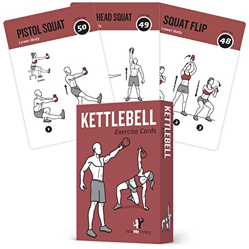 "EXERCISE CARDS KETTLEBELL Home Gym Workouts HIIT Strength Training Build Muscle Total Body Fitness Guide Training Routines Bodybuilding Personal Learn KB Moves 3.5""x5"" Cards Burn Fat by NewMe Fitness"