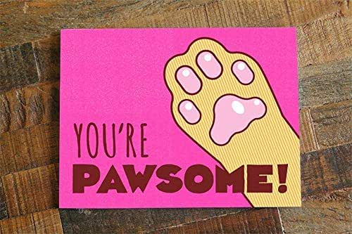 """Amazon.com: Funny All Occasion Cat Paw Pun Card -""""You're"""