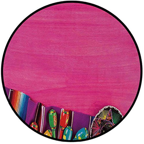Printing Round Rug,Mexican Decorations,View of Folkloric Serape Blanket Charro Hat and Music Instruments Mat Non-Slip Soft Entrance Mat Door Floor Rug Area Rug For Chair Living Room,Fuchsia Purple by iPrint