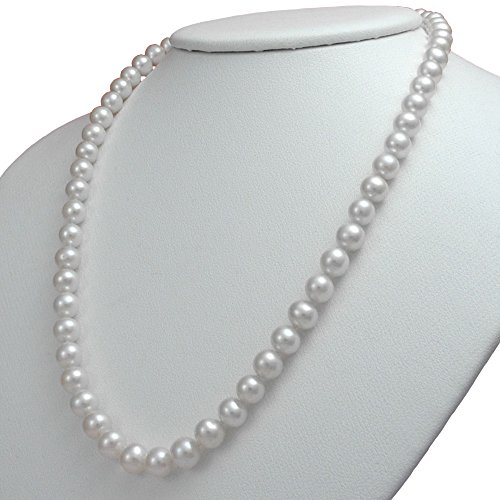 Aa+ Natural Pearl Necklace - Orien Jewelry White Freshwater Cultured Pearl Necklaces 7mm AA Cultured Pearl Pendant Necklace for Women